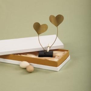 Μπομπονιέρα καρδιές μπρούτζινες σε κουτί