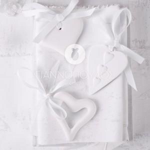καρδιές από πηλό (σετ 3 σχέδια) 6x7,5cm με γκρό κορδέλα