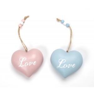 ΞΥΛΙΝΗ ΚΑΡΔΙΑ ΣΙΕΛ ΚΑΙ ΡΟΖ ΜΠΟΥΛ ΚΡΕΜΑΣΤΗ ΜΕ LOVE (11Χ9)